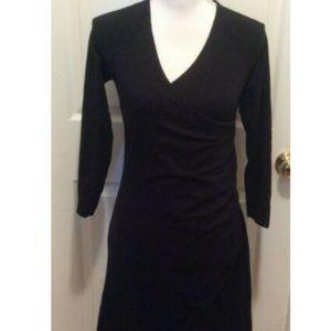 Soft Surroundings Dress PS Black Solid Faux Wrap